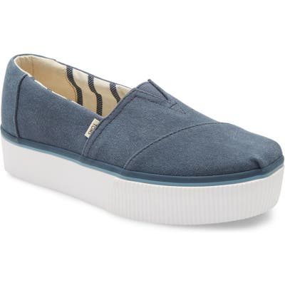 Toms Alpargata Boardwalk Platform Slip-On- Blue