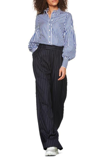 Image of SUISTUDIO Doc Stripe Print Puff Sleeve Shirt
