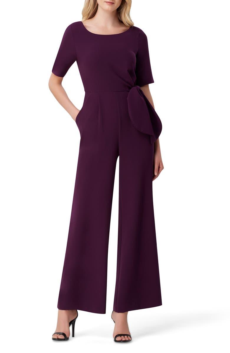 TAHARI Tie Waist Crepe Jumpsuit, Main, color, AUBERGINE