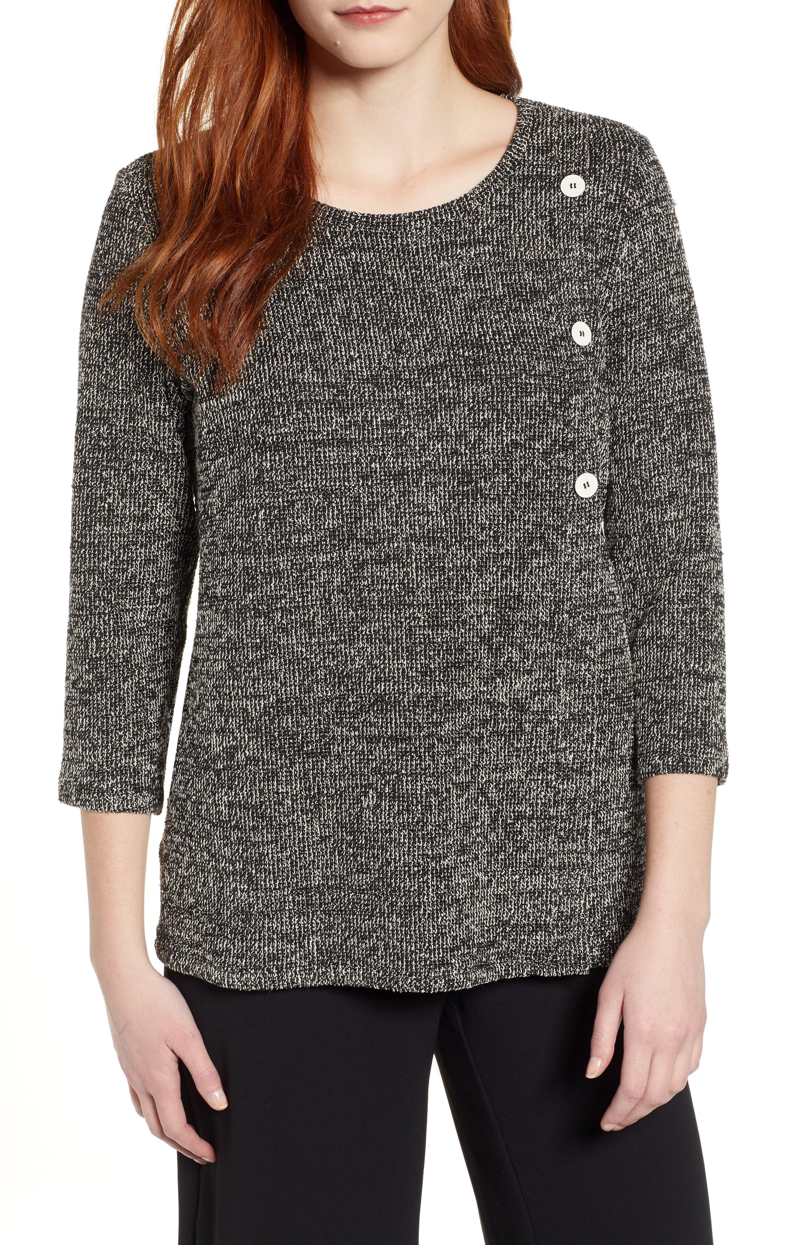 Button Detail Marl Knit Top, Main, color, RICH BLACK