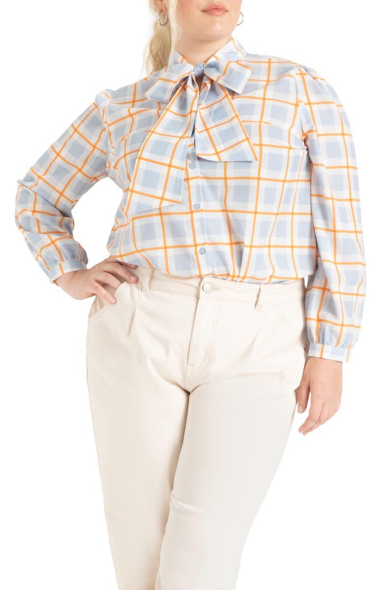 ELOQUII Tie Neck Crepe Blouse, Main, color, CHECKS AND BALANCES BLUE