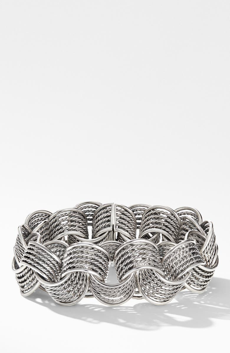 DAVID YURMAN Origami Link Bracelet, Main, color, SILVER