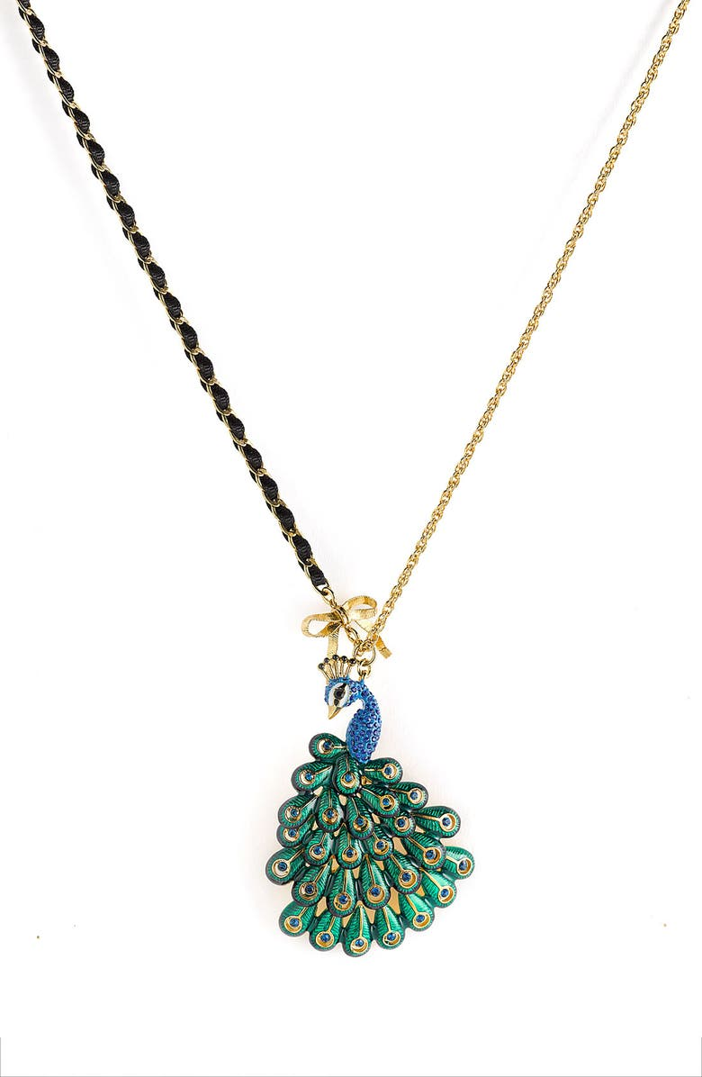 BETSEY JOHNSON 'Asian Jungle' Peacock Pendant Necklace, Main, color, 300