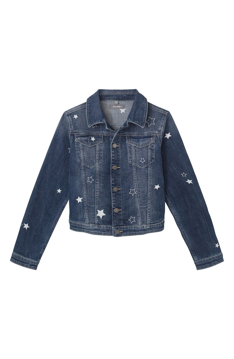 DL1961 Star Embroidered Denim Jacket, Main, color, NEBULA