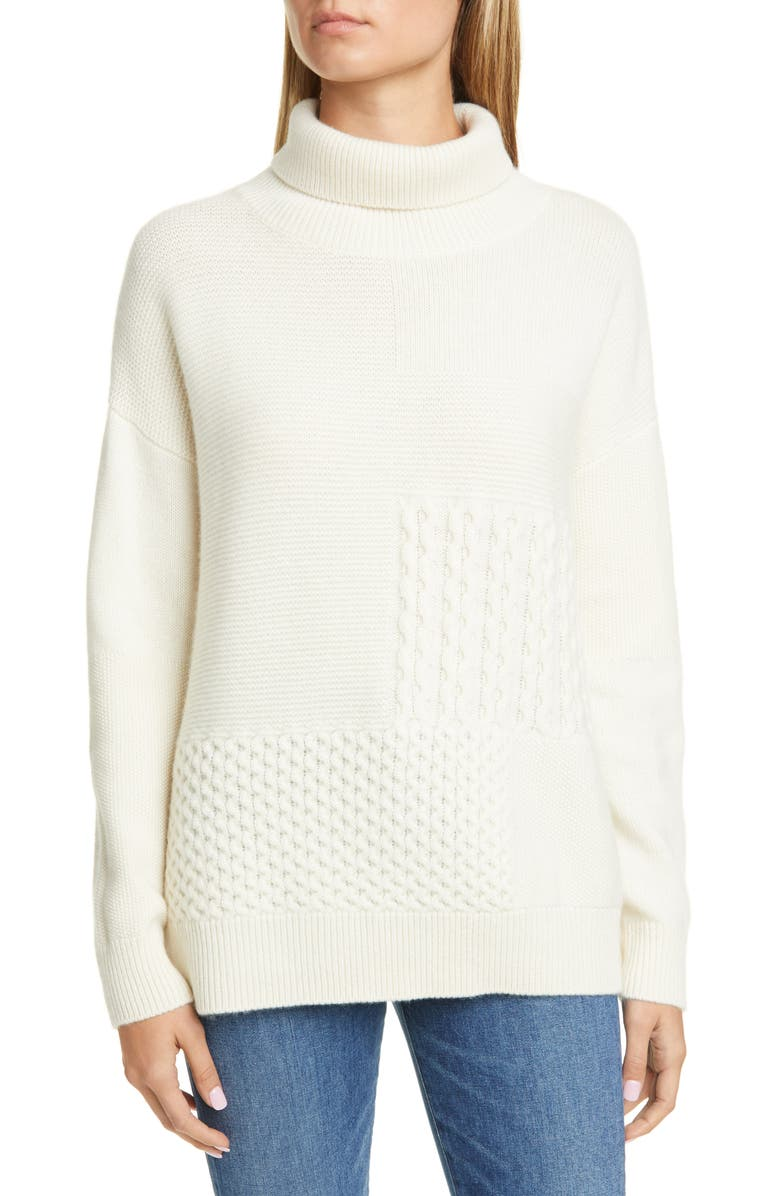 NORDSTROM SIGNATURE Stitch Patchwork Cashmere Sweater, Main, color, IVORY CLOUD