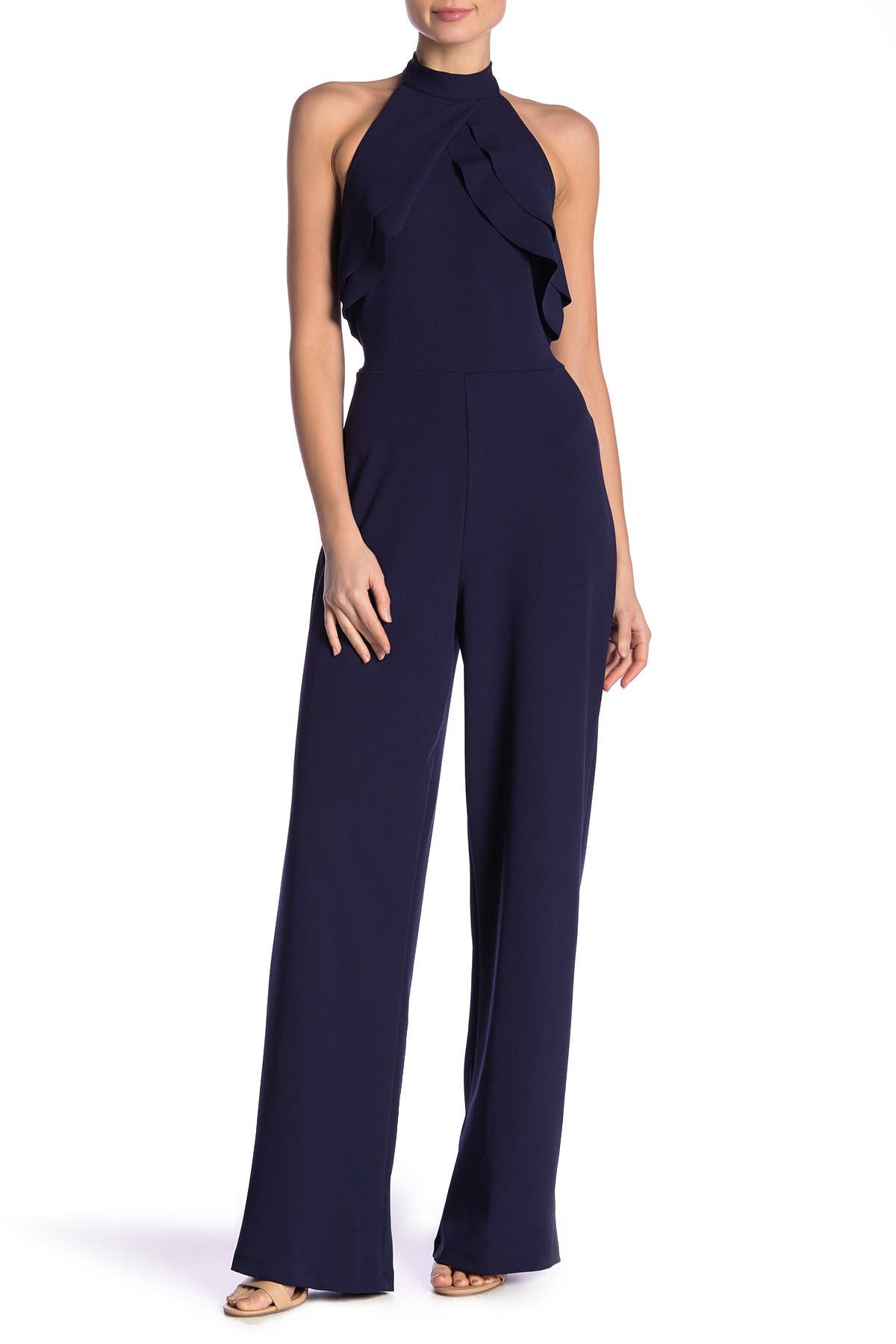 Image of bebe Ruffle Halter Jumpsuit