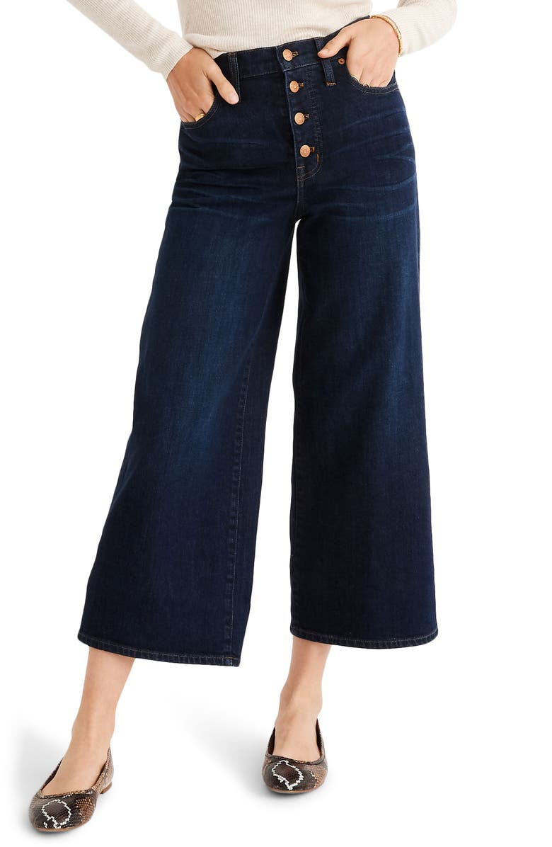 MADEWELL Button Front Wide Leg Crop Jeans, Main, color, HAYES WASH