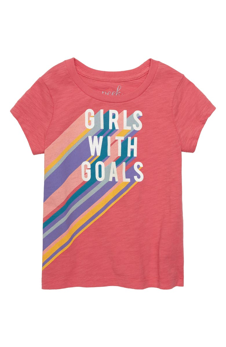 PEEK AREN'T YOU CURIOUS Girls with Goals Graphic Tee, Main, color, DARK CORAL