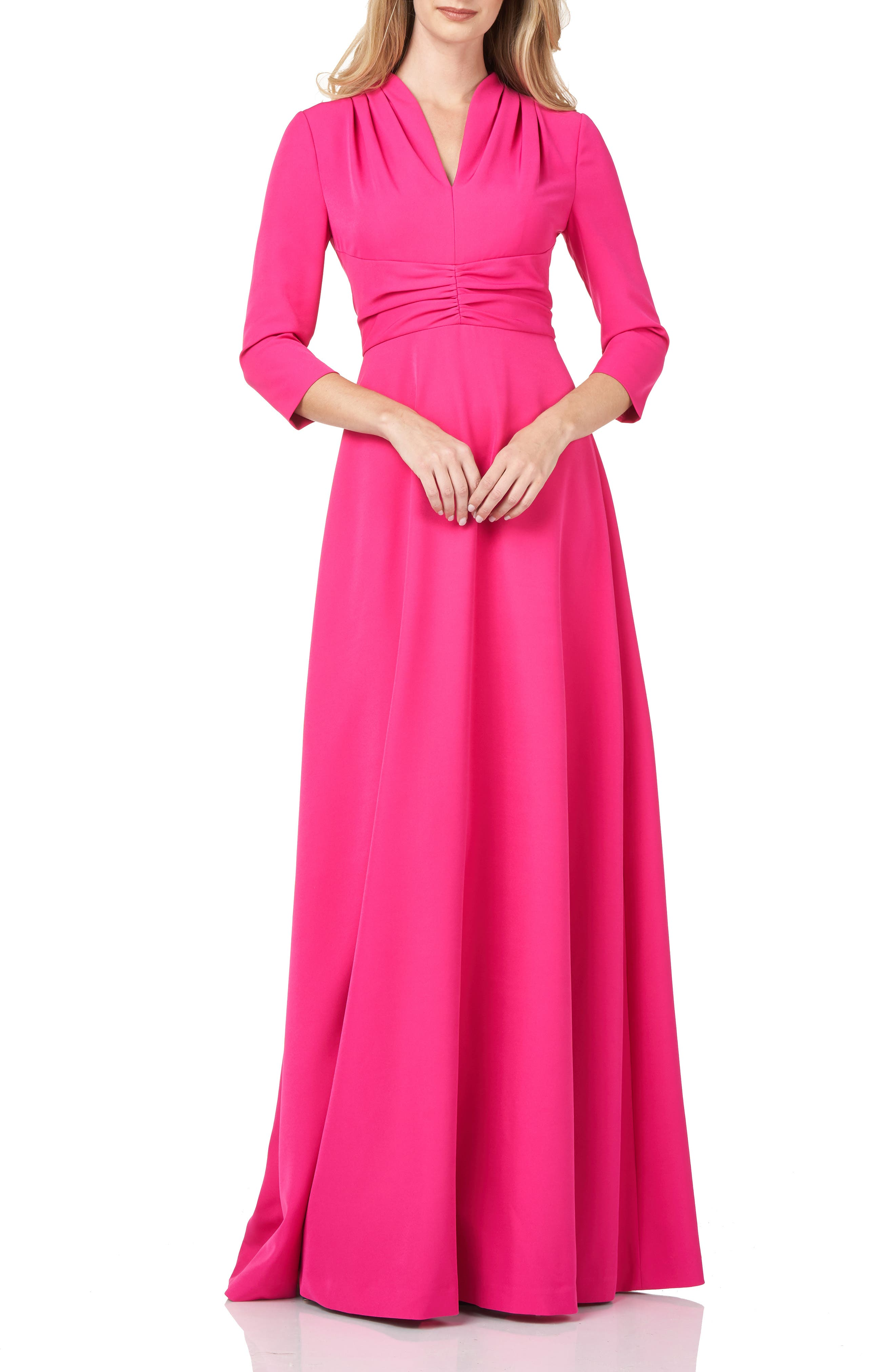 Pleated Swan Neck Stretch Crepe Gown