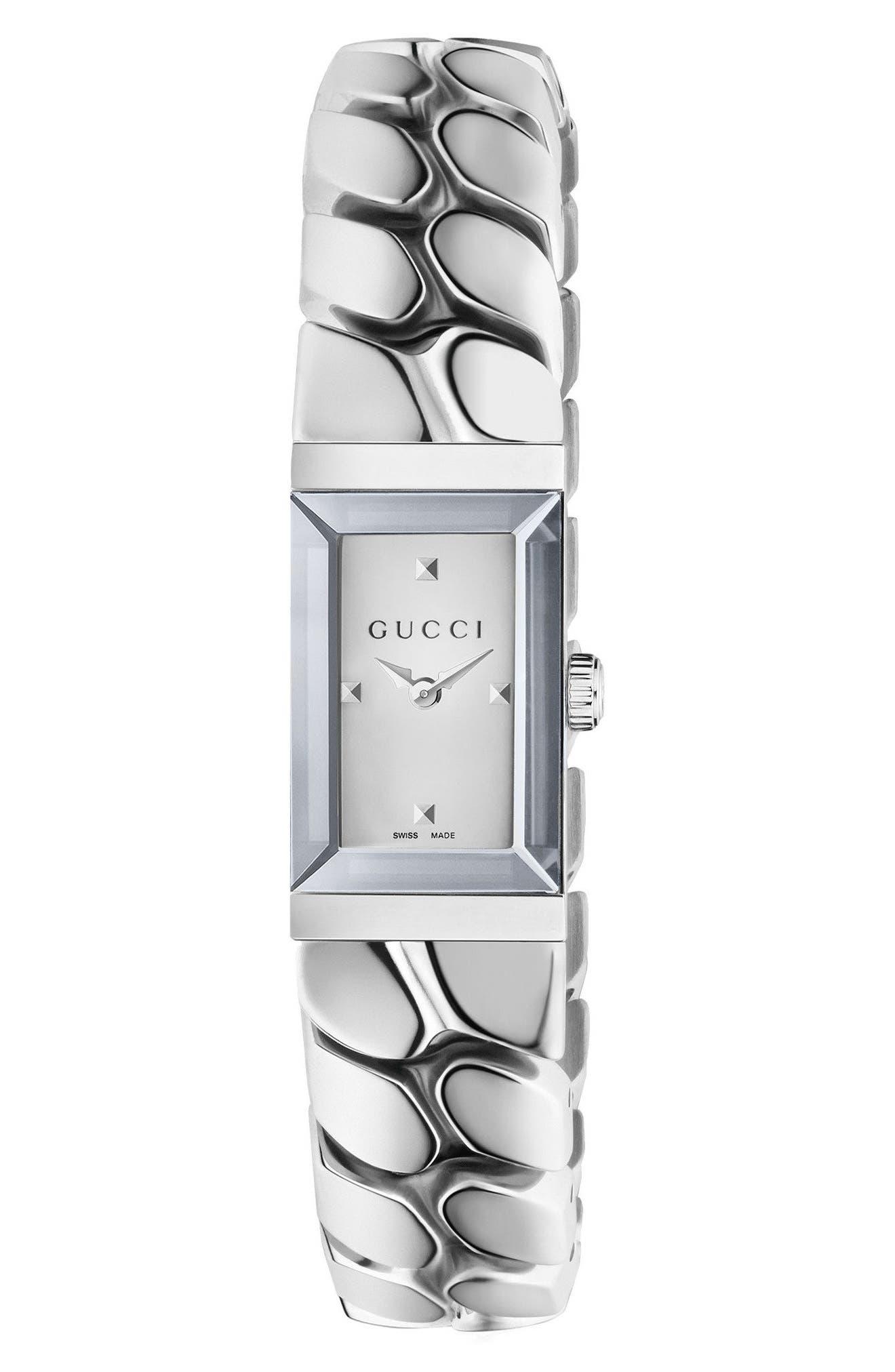 Image of GUCCI Women's G-Frame Gourmette Chain Bracelet Watch, 14mm