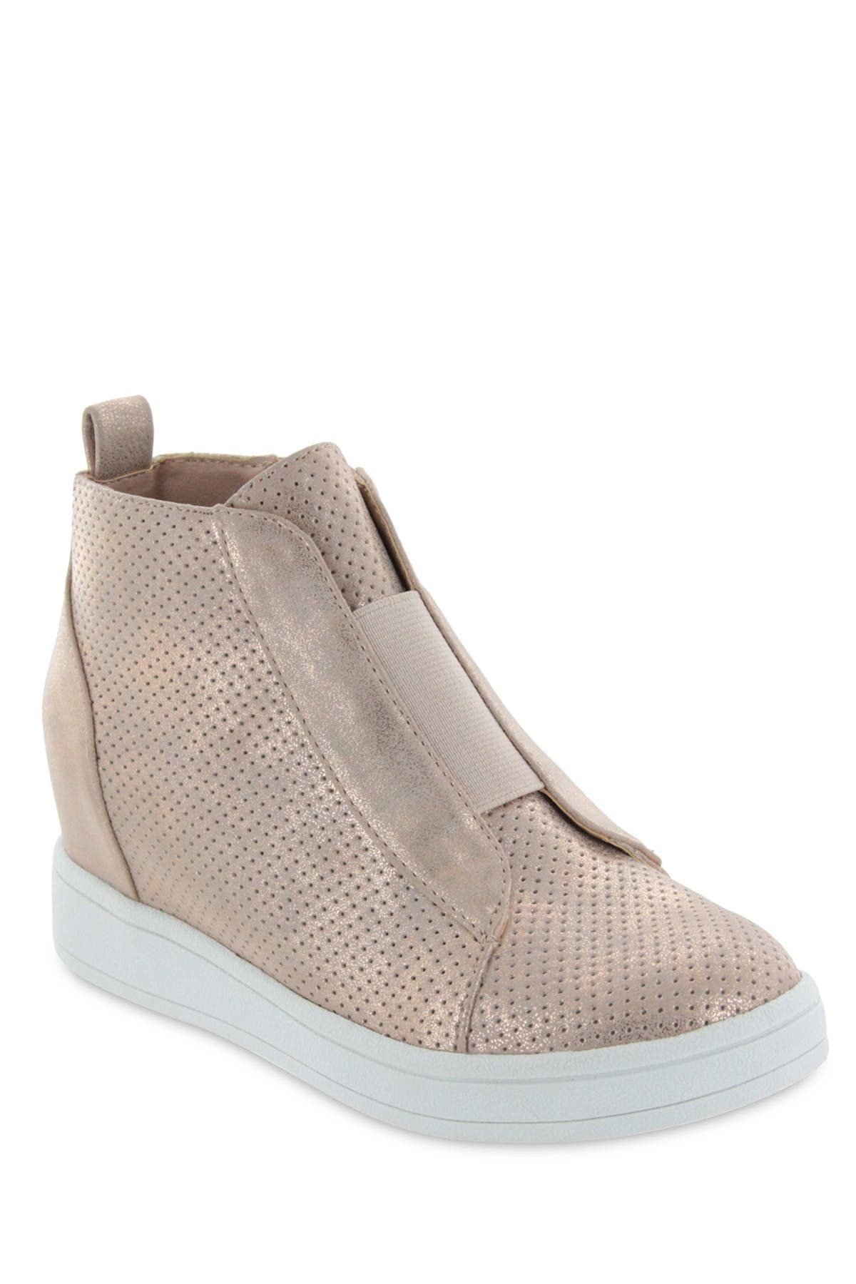 Image of MIA Gracey Laceless Perforated Wedge Hi-Top Sneaker
