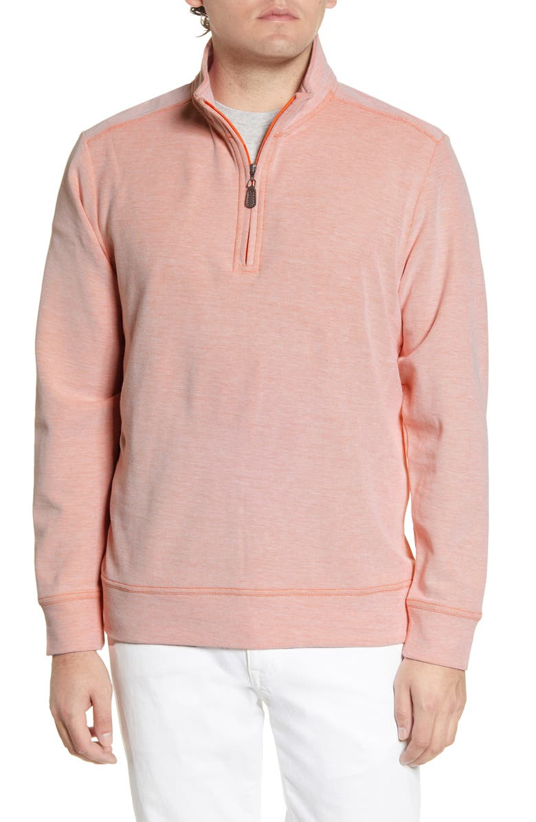 TOMMY BAHAMA Coral Seas Quarter Zip Piqué Pullover, Main, color, MANGO BLOSSOM