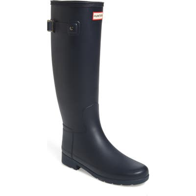 Hunter Original Refined Waterproof Rain Boot, Narrow Calf- Blue