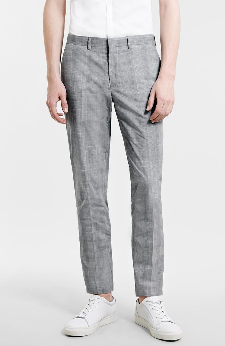 TOPMAN Skinny Fit Plaid Suit Trousers, Main, color, 020