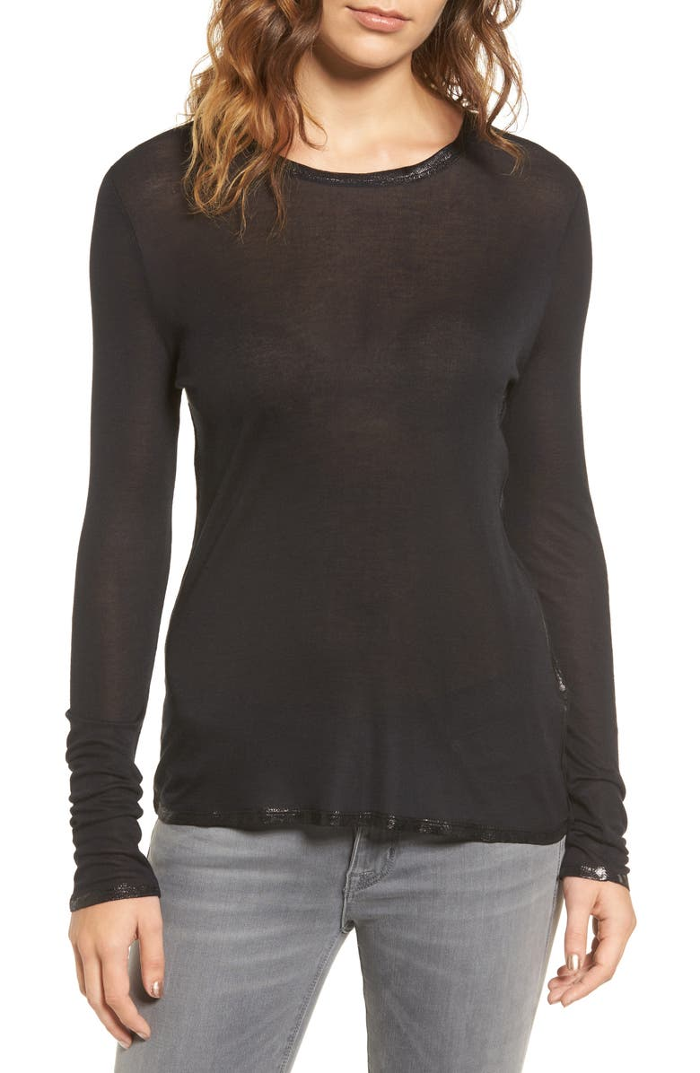 ZADIG & VOLTAIRE Willy Foil Tee, Main, color, BLACK