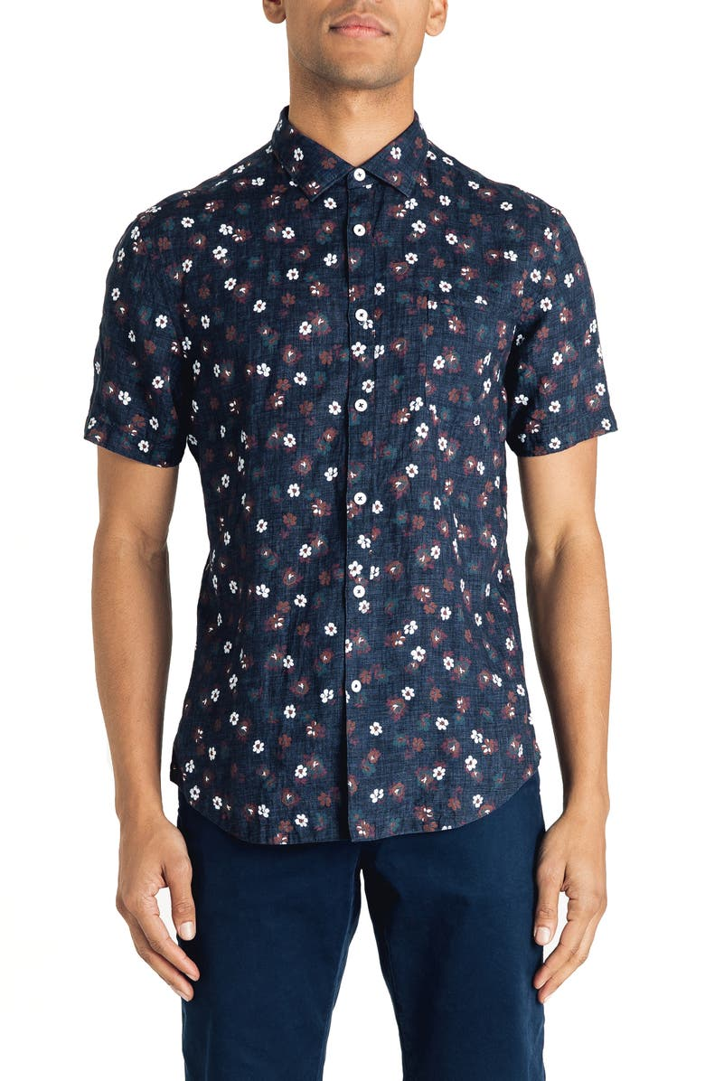 GOOD MAN BRAND Slim Fit Short Sleeve Aloha Floral Print Linen Shirt, Main, color, NAVY