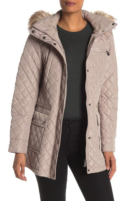 Image of Calvin Klein Faux Fur Hooded Quilted Jacket