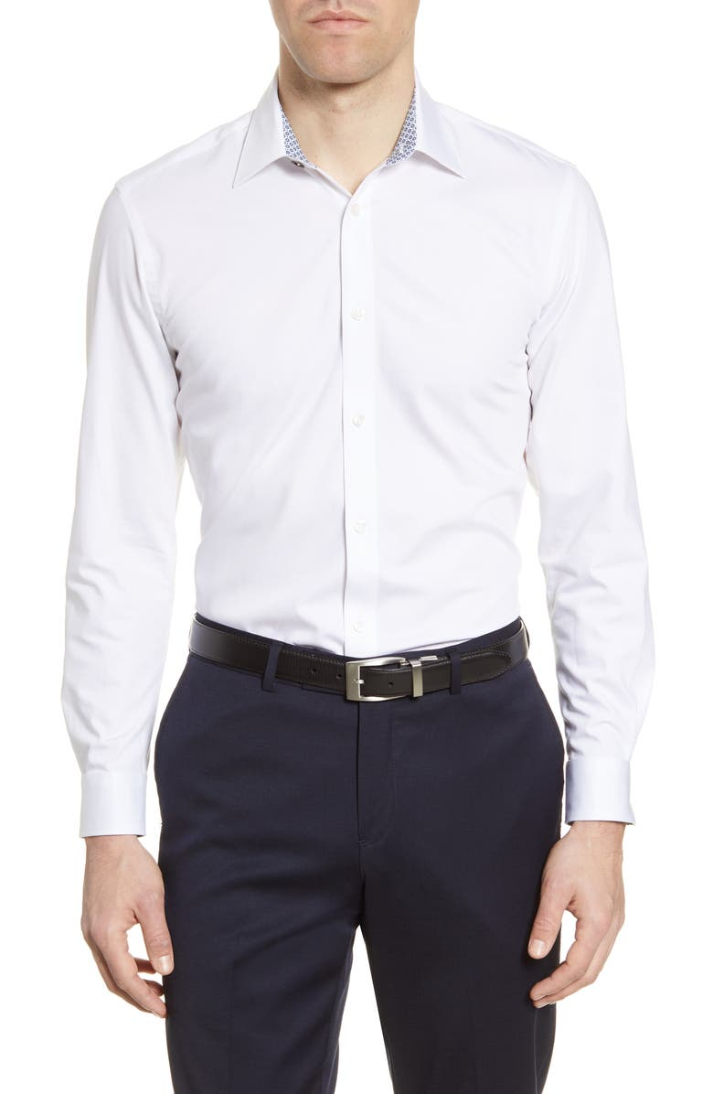 TED BAKER LONDON Sunray Trim Fit Stretch Dress Shirt, Main, color, WHITE
