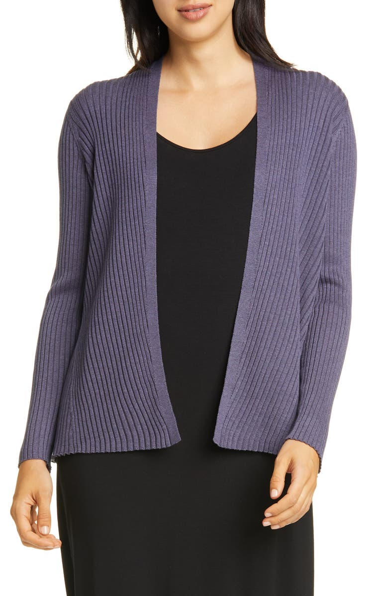 EILEEN FISHER Ribbed Cardigan, Main, color, 401