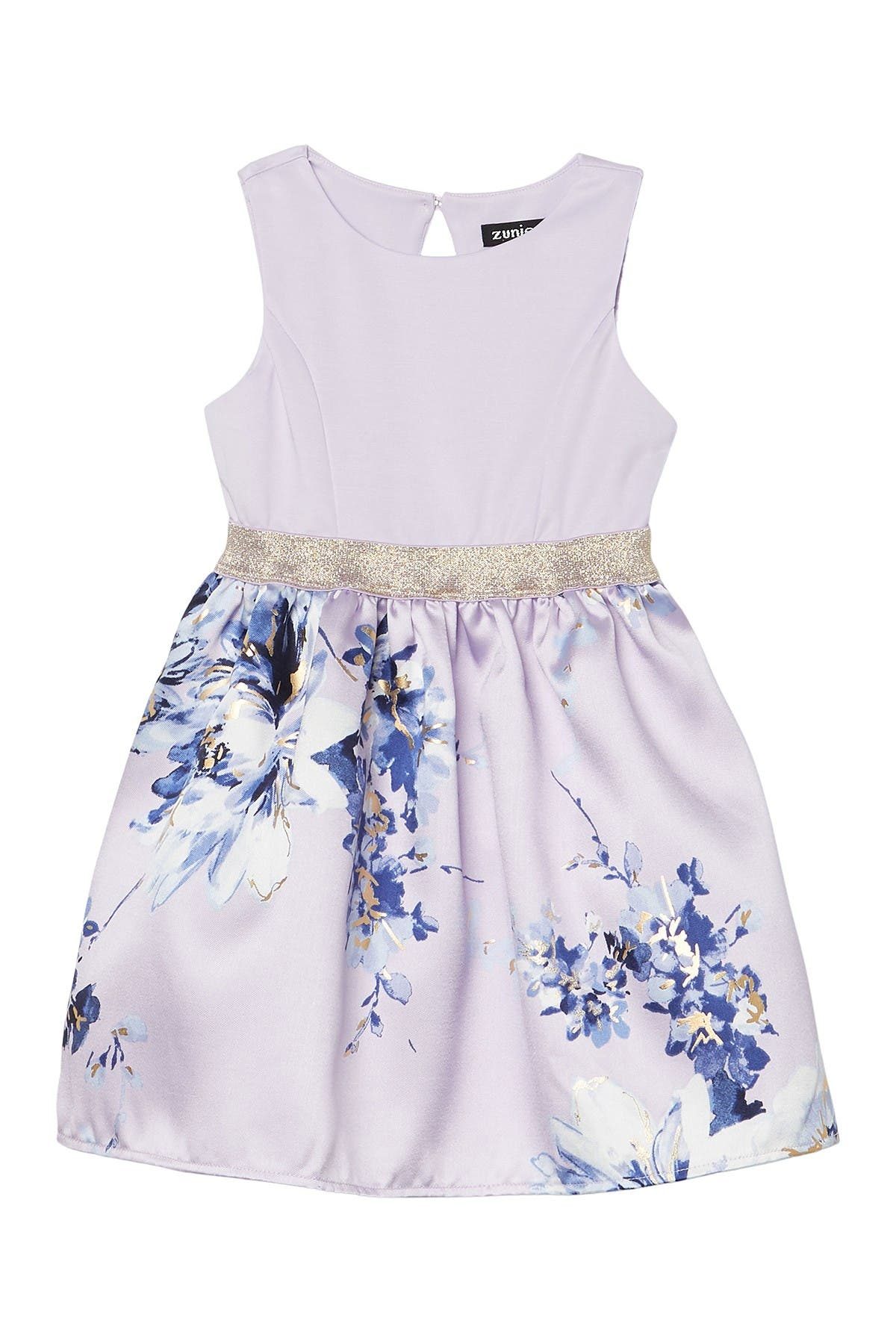 Image of Zunie Mikado Sleeveless Floral Dress