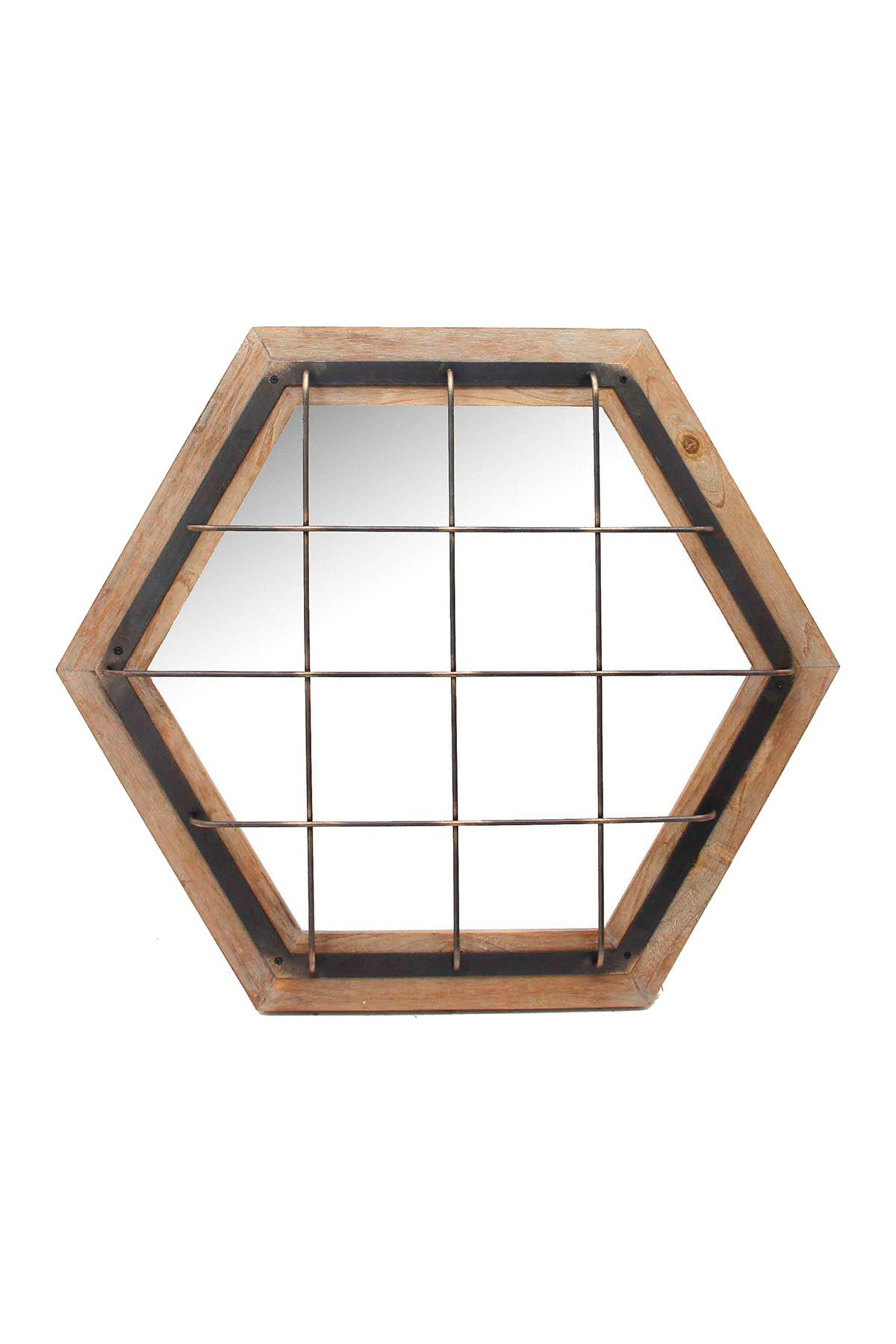 Image of SAGEBROOK HOME Brown Caged Hexagon Wood Mirror