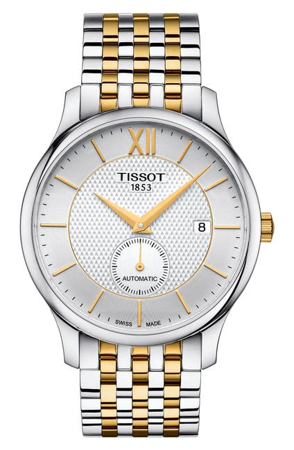 Image of Tissot Men's Tradition Automatic Small Second Two-Tone Bracelet Watch, 40mm