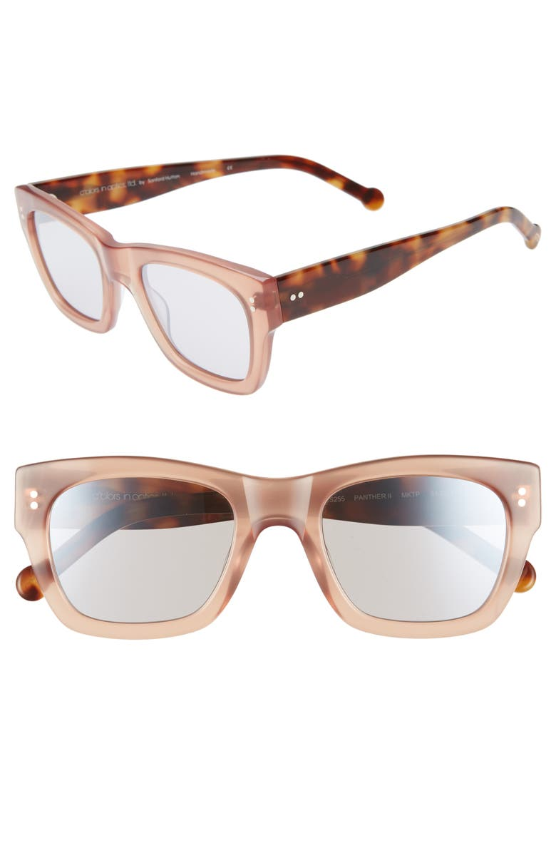 COLORS IN OPTICS Panther 51mm Mirrored Rectangular Sunglasses, Main, color, MILKY TAUPE