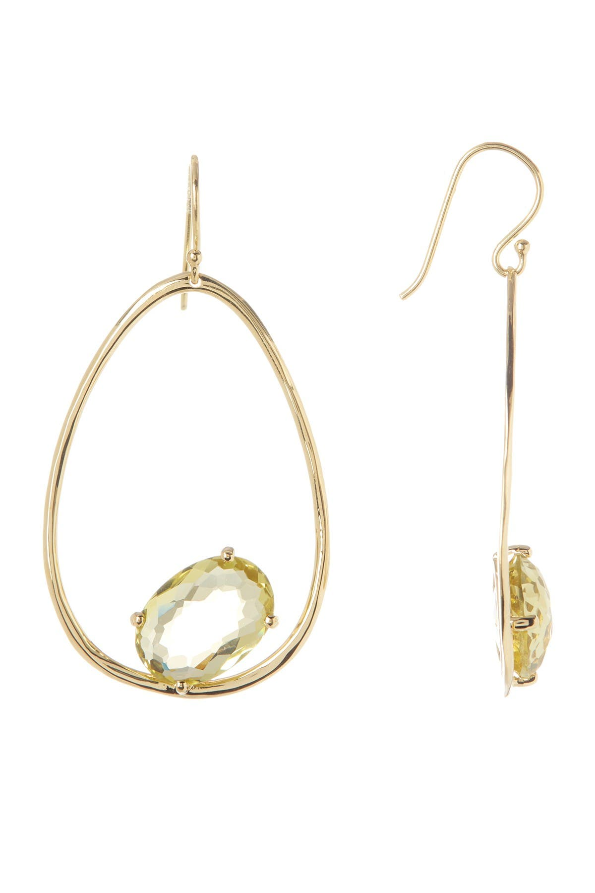 Image of Ippolita 18K Gold Rock Candy Wire Earrings with One Large Oval Stone in Green Gold Citrine
