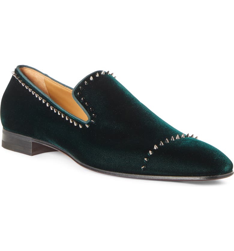 CHRISTIAN LOUBOUTIN Dandeton Spiked Velvet Loafer, Main, color, VOSGES/ DARK GUN