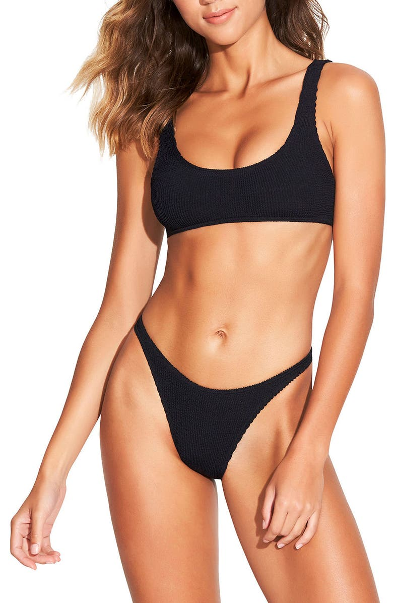 BOUND BY BOND-EYE The Malibu Two-Piece Ribbed Bikini Swimsuit, Main, color, BLACK