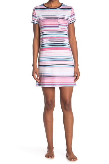 Image of Nautica Short Sleeve Striped Night Gown