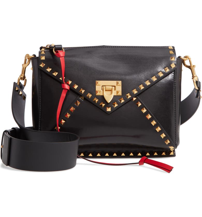 VALENTINO GARAVANI Medium Rockstud Hype Leather Shoulder Bag, Main, color, NERO