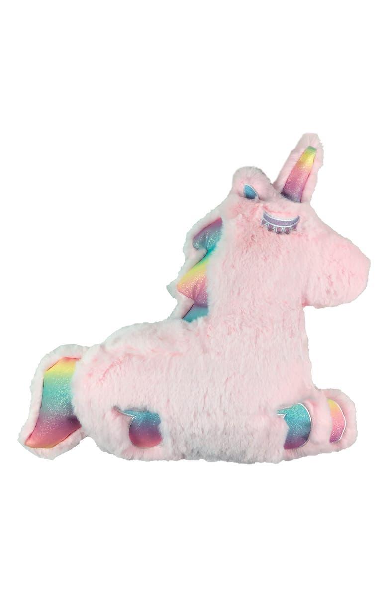 ISCREAM Bubblegum Scented Faux Fur Unicorn Pillow, Main, color, MULTI