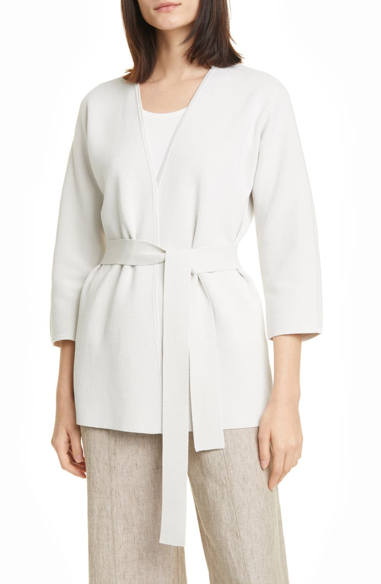 EILEEN FISHER Silk & Organic Cotton Belted Cardigan, Main, color, 270