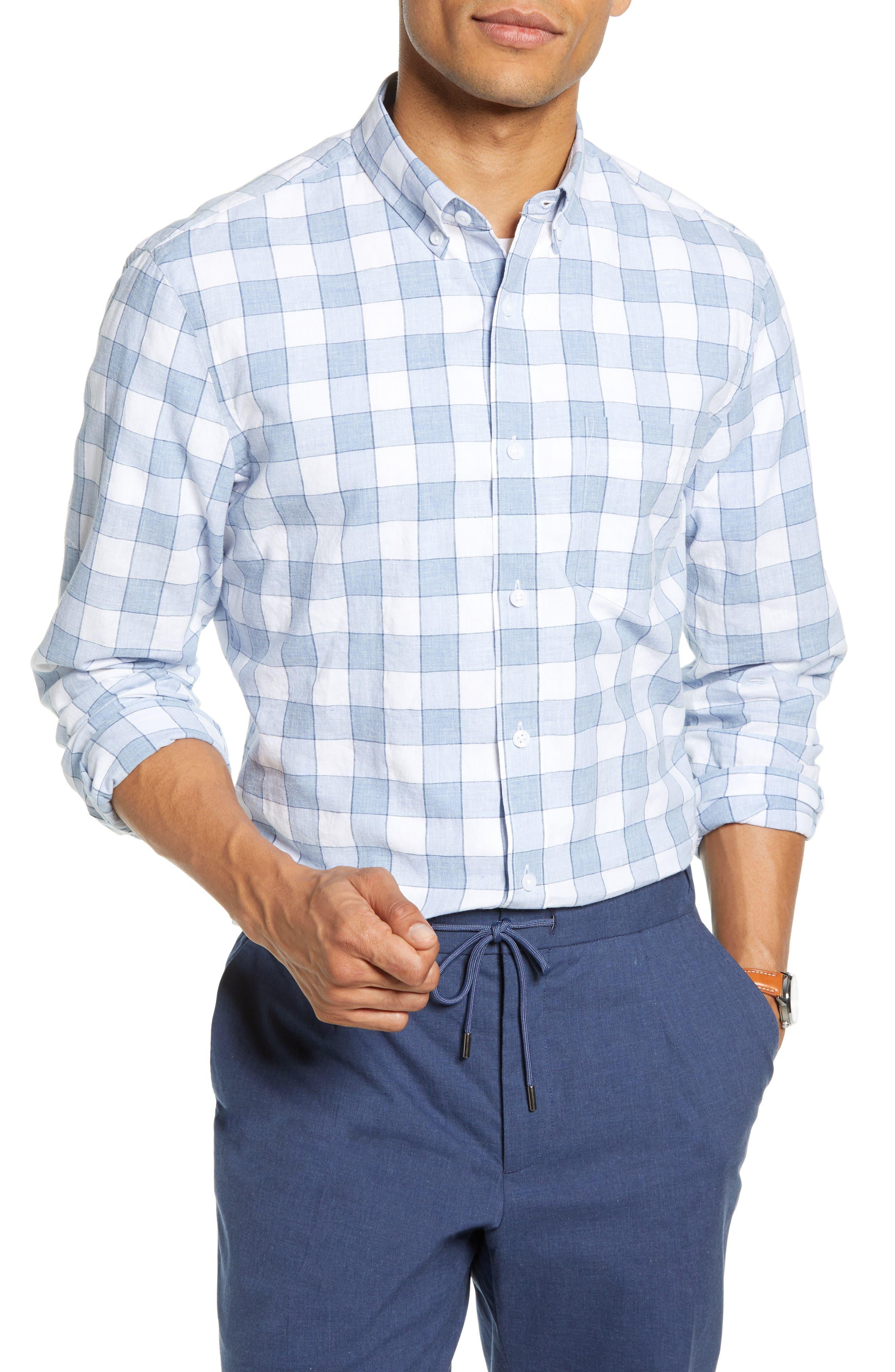 1901 Heather Check Linen Blend Slim Fit Sport Shirt