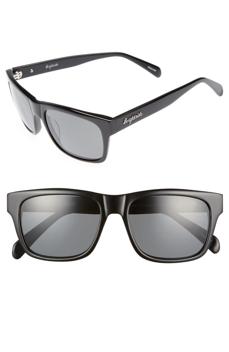 BRIGHTSIDE Wilshire 55mm Polarized Sunglasses, Main, color, BLACK/ GREY POLAR
