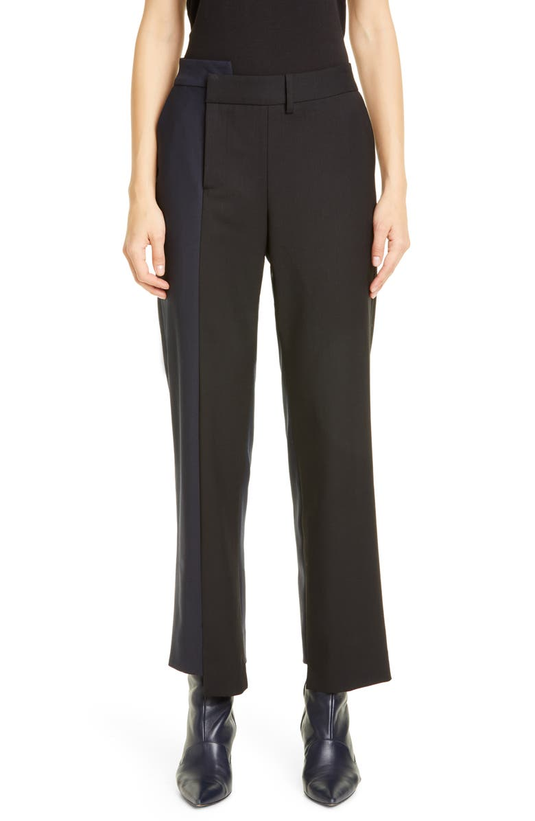 MONSE Two-Tone Stretch Wool Pants, Main, color, MIDNIGHT/ BLACK