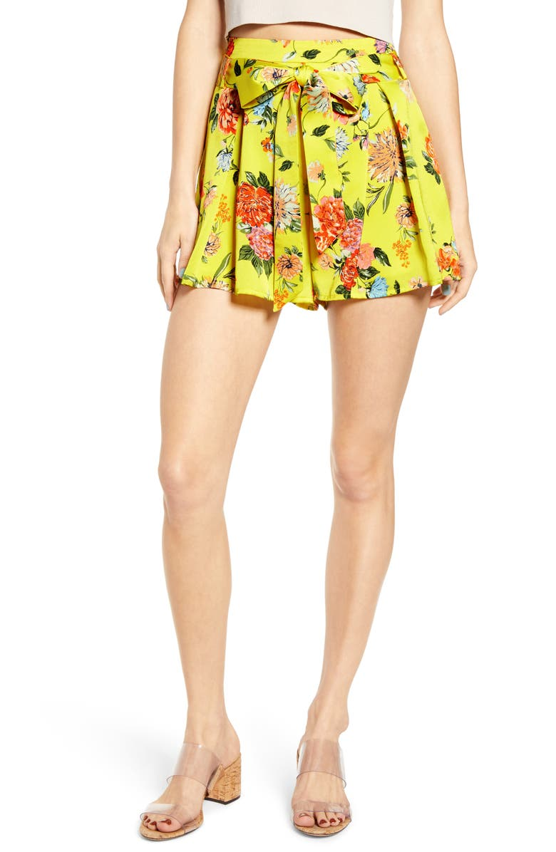 J.O.A. Floral Tie Front Shorts, Main, color, YELLOW FLORAL