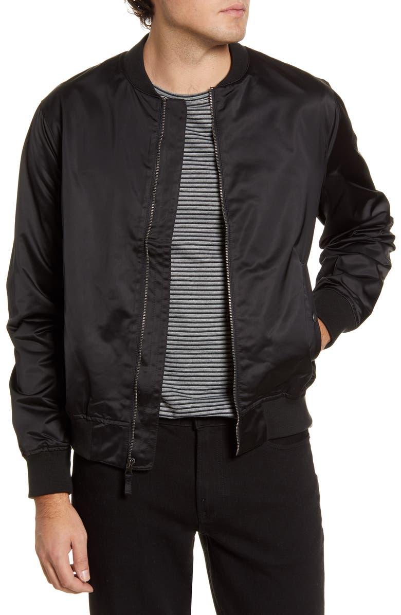 BONOBOS Slim Fit Moto Bomber Jacket, Main, color, BLACK