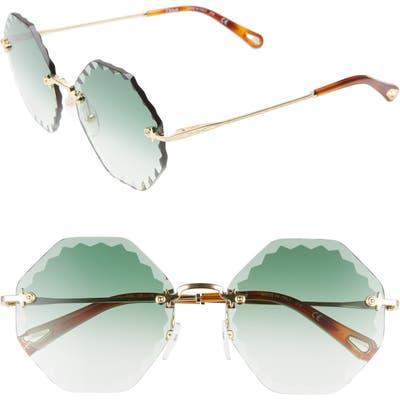 Chloe Rosie 5m Gradient Octagonal Rimless Sunglasses - Gold/ Gradient Green