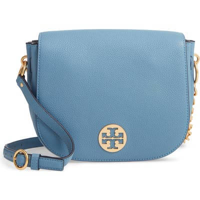 Tory Burch Everly Leather Flap Saddle Bag - Blue