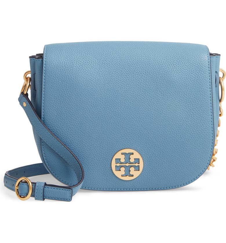 TORY BURCH Everly Leather Flap Saddle Bag, Main, color, 400