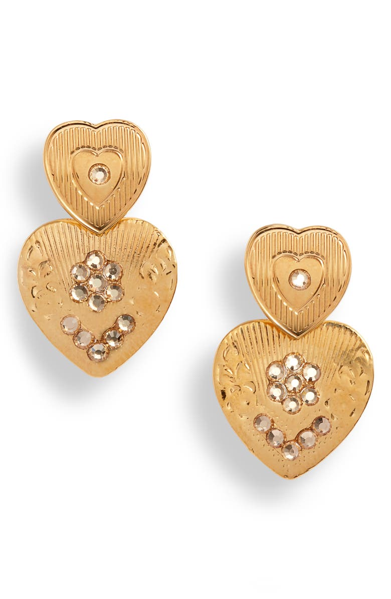 GAS BIJOUX Mini Love Heart Drop Earrings, Main, color, GOLD