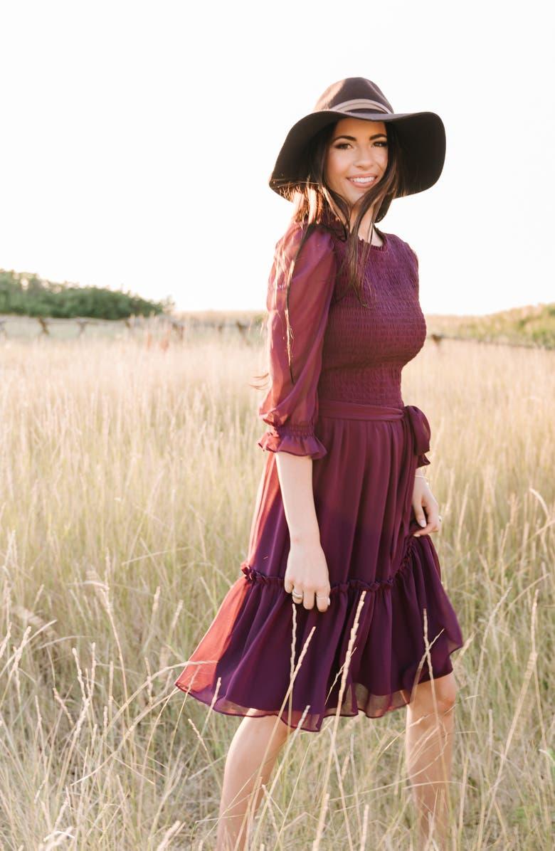 RACHEL PARCELL Smocked Dress, Main, color, PURPLE NECTAR