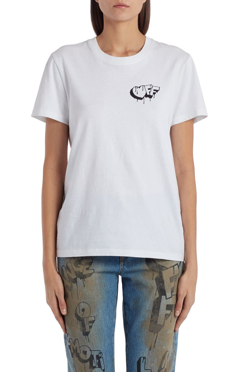 OFF-WHITE Markers Graphic Tee, Main, color, WHITE BLACK