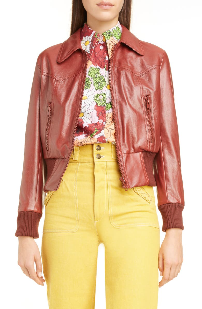 RUNWAY MARC JACOBS Leather Bomber Jacket, Main, color, DARK RUST