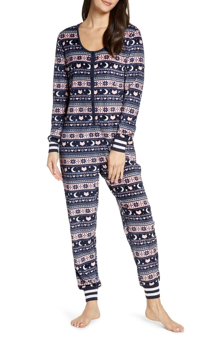 HONEYDEW INTIMATES Cocoa Cozy Henley Jumpsuit, Main, color, SILENT NIGHT FAIR ISLE