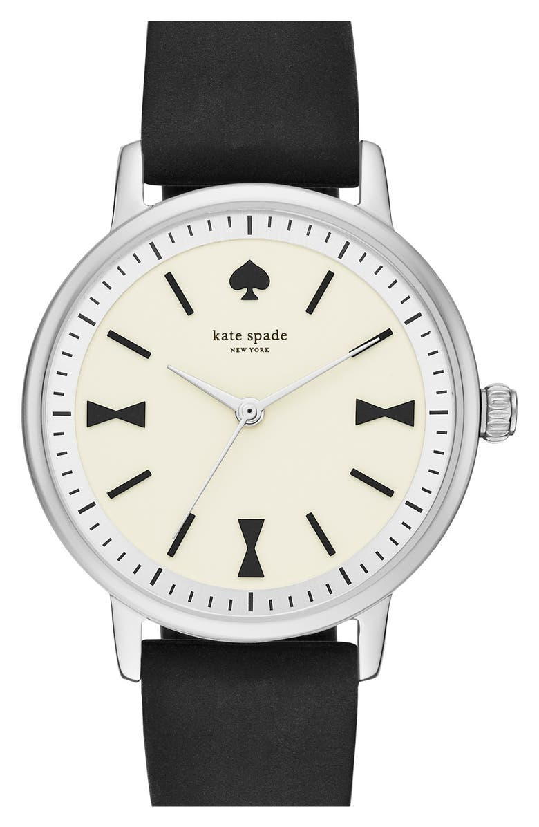 KATE SPADE NEW YORK 'crosby' silicone strap watch, 34mm, Main, color, 001