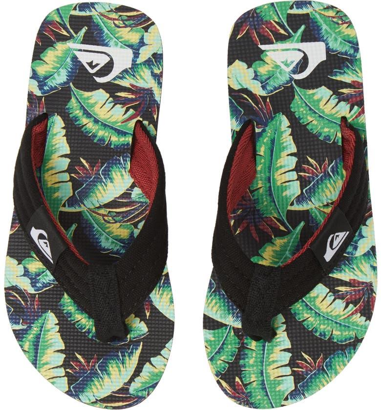 QUIKSILVER Molokai Layback Flip Flop, Main, color, BLACK/ GREEN/ BLACK