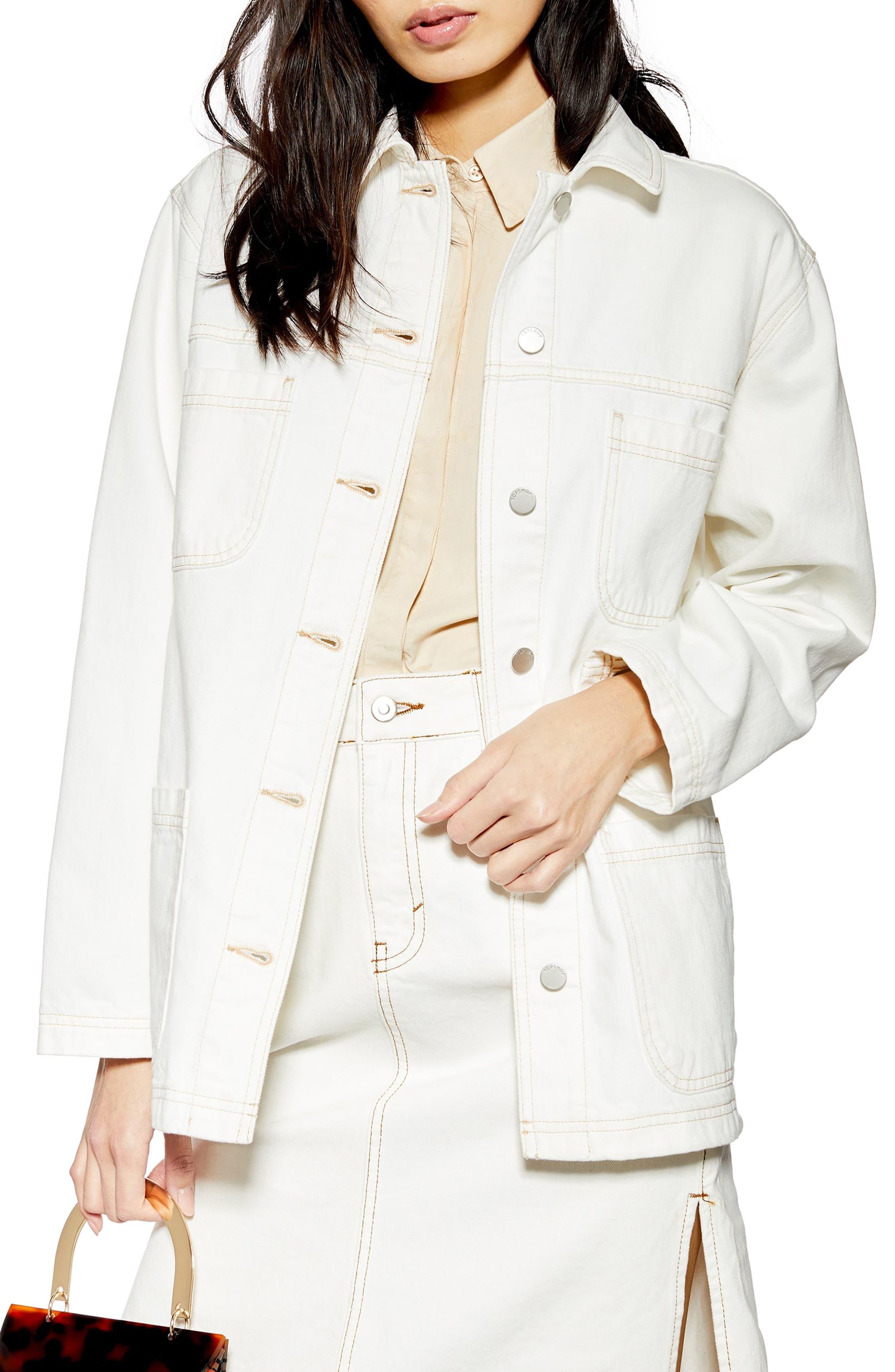 Oversize Denim Jacket, Main, color, CREAM